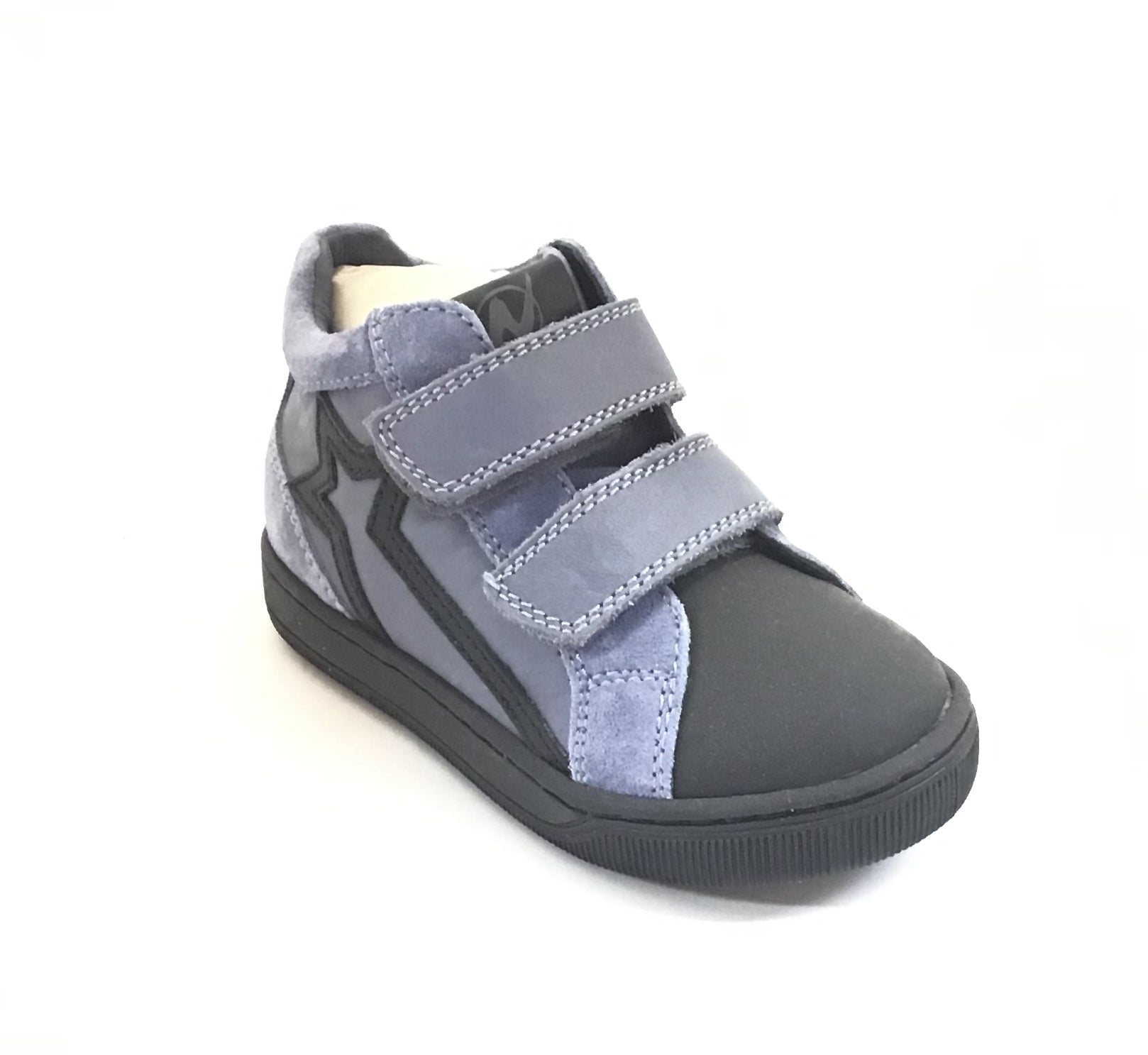 Naturino Light Blue and Black Shoe with Double Velcro