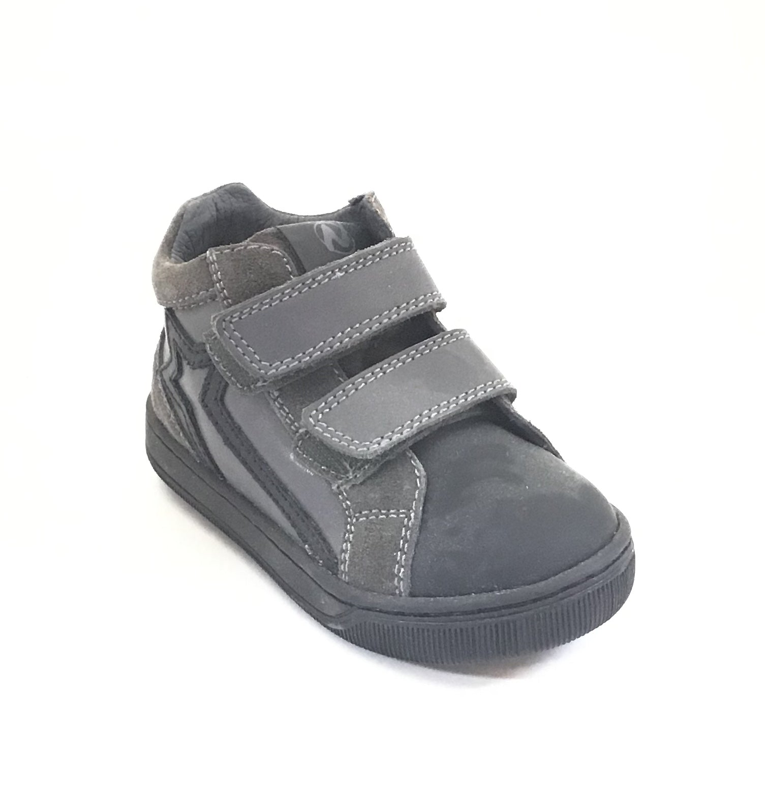 Naturino Charcoal and Black Shoe with Double Velcro