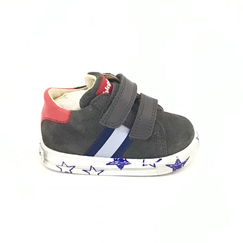 Falcotto Charcoal Velour Sneaker with Star Print on the Sole and Double Velcro