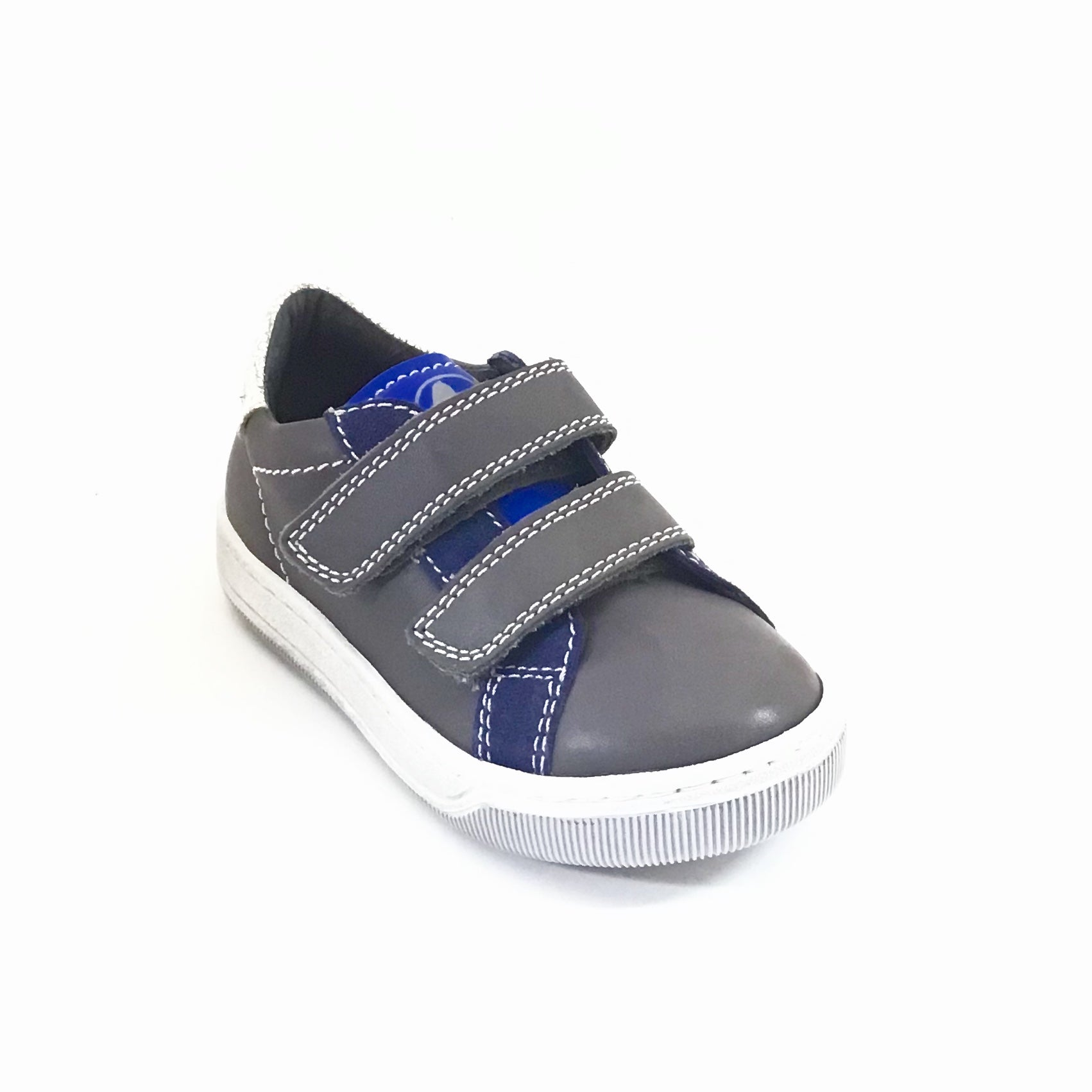 Naturino Charcoal and Navy Sneaker with Double Velcro