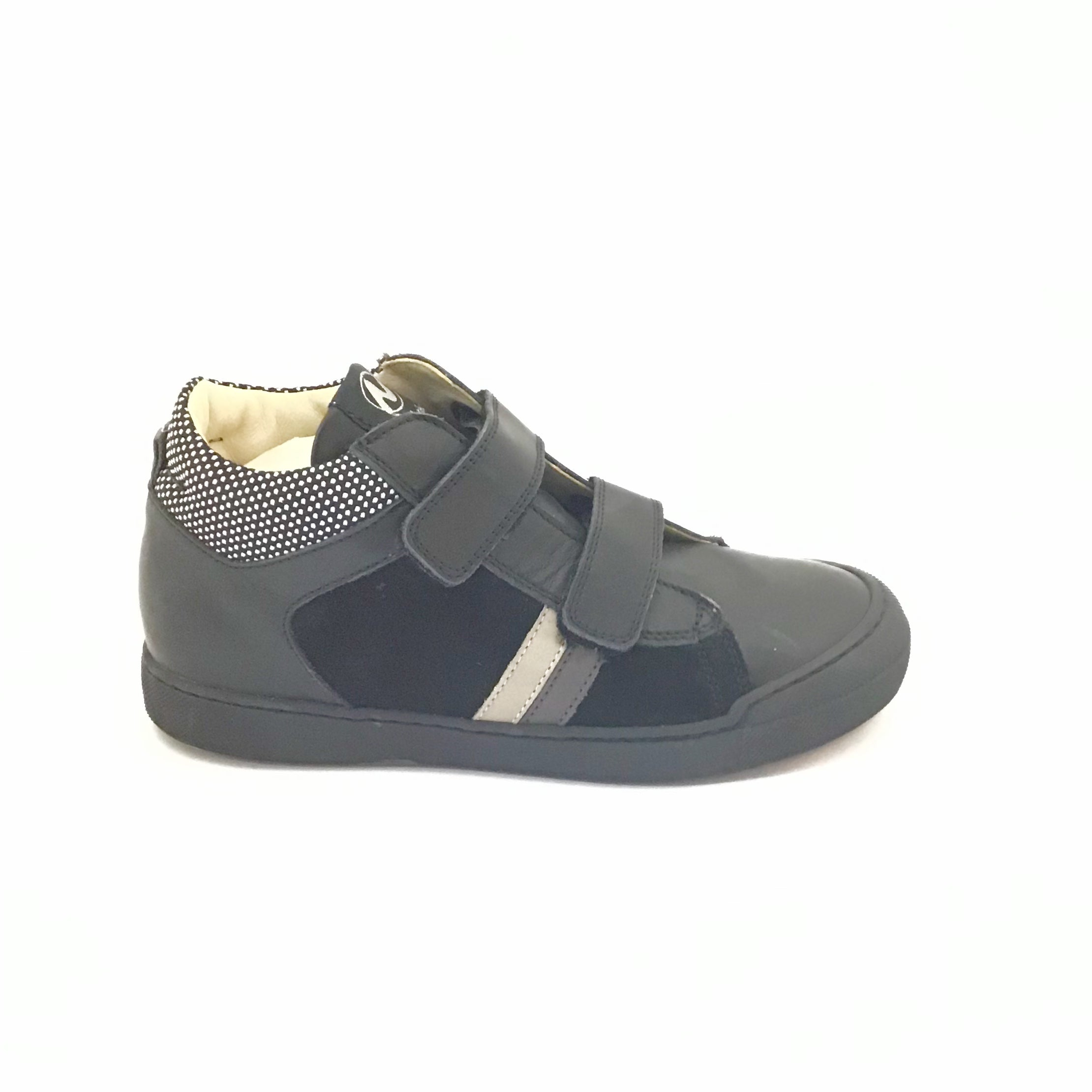 Naturino Black Sneaker with Stripes and Double Velcro