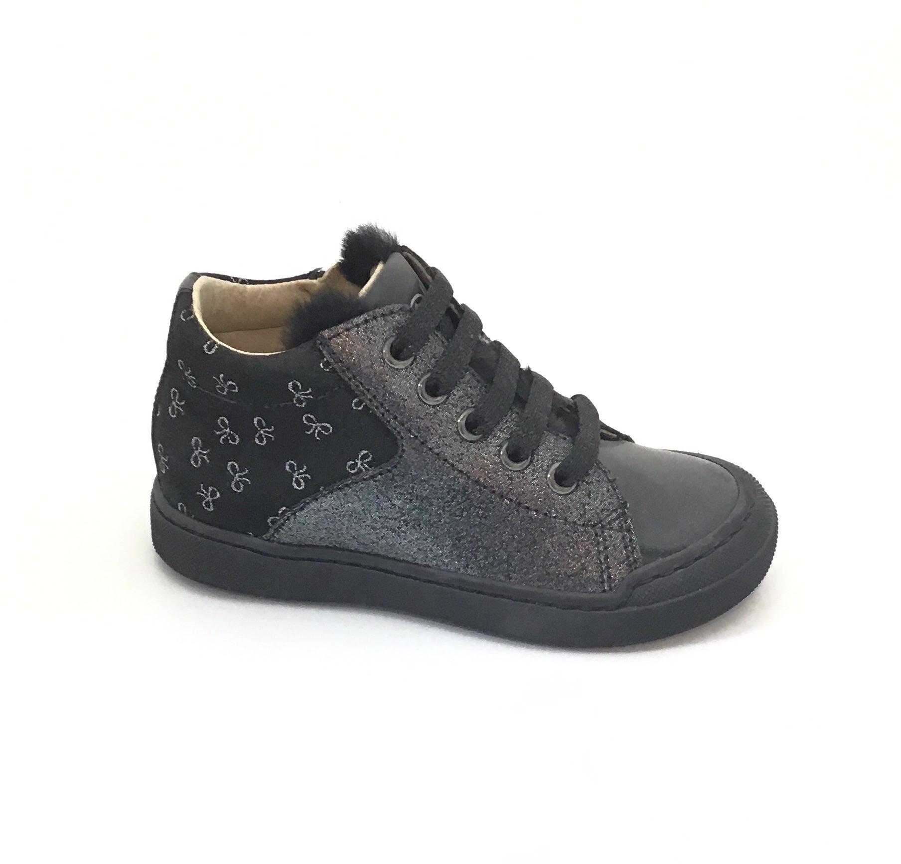 Naturino Charcoal Velour Glitter and Bow Print Laced Shoe