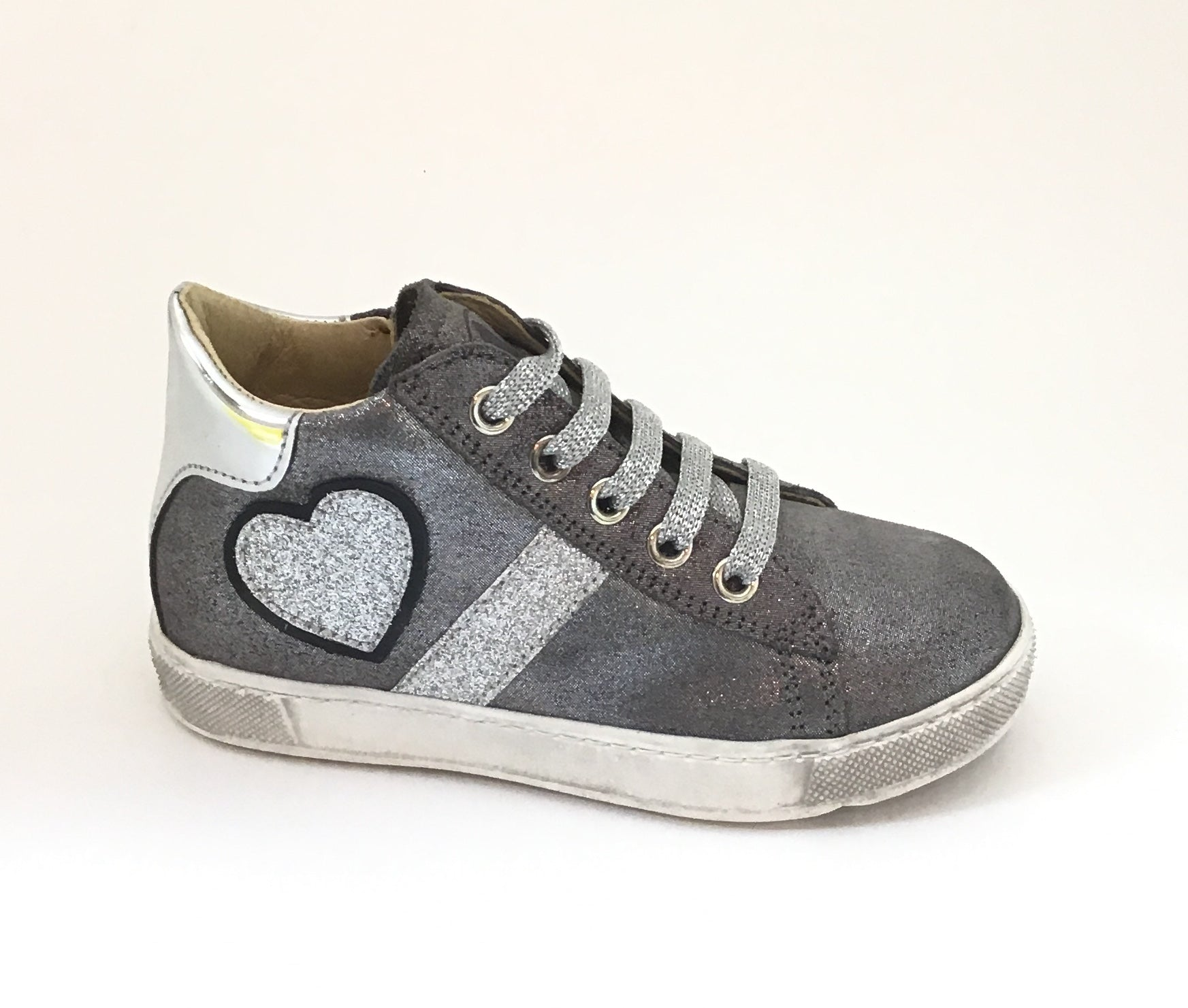 Naturino Silver Laced Shoe with Heart on Side