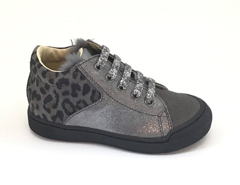 Naturino Silver Velour Glitter and Leopard Print Laced Shoe
