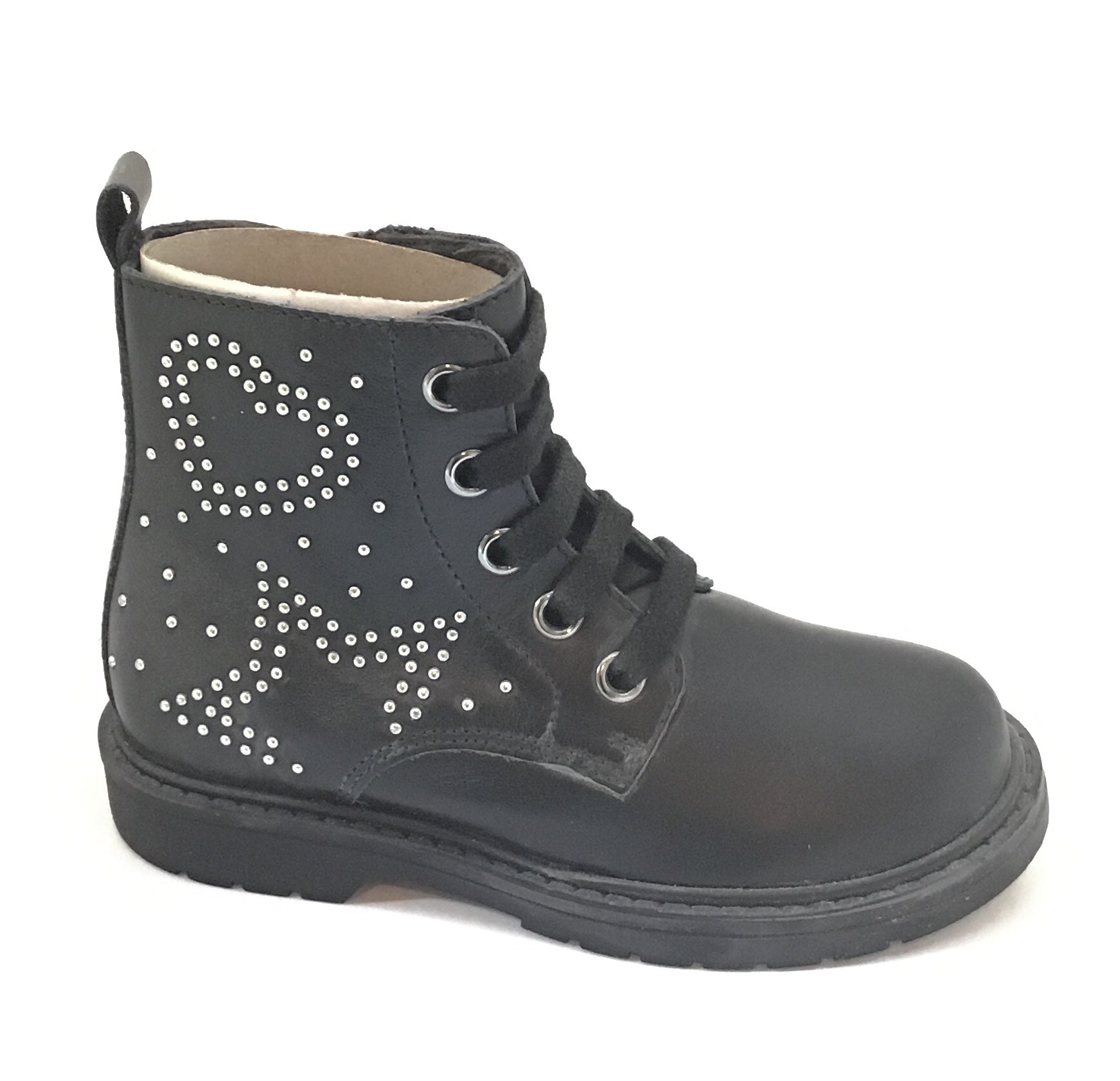 Naturino Black Laced Bootie with Heart and Star on Side