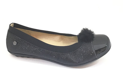 Naturino Black Glitter Shoe with Pom Pom