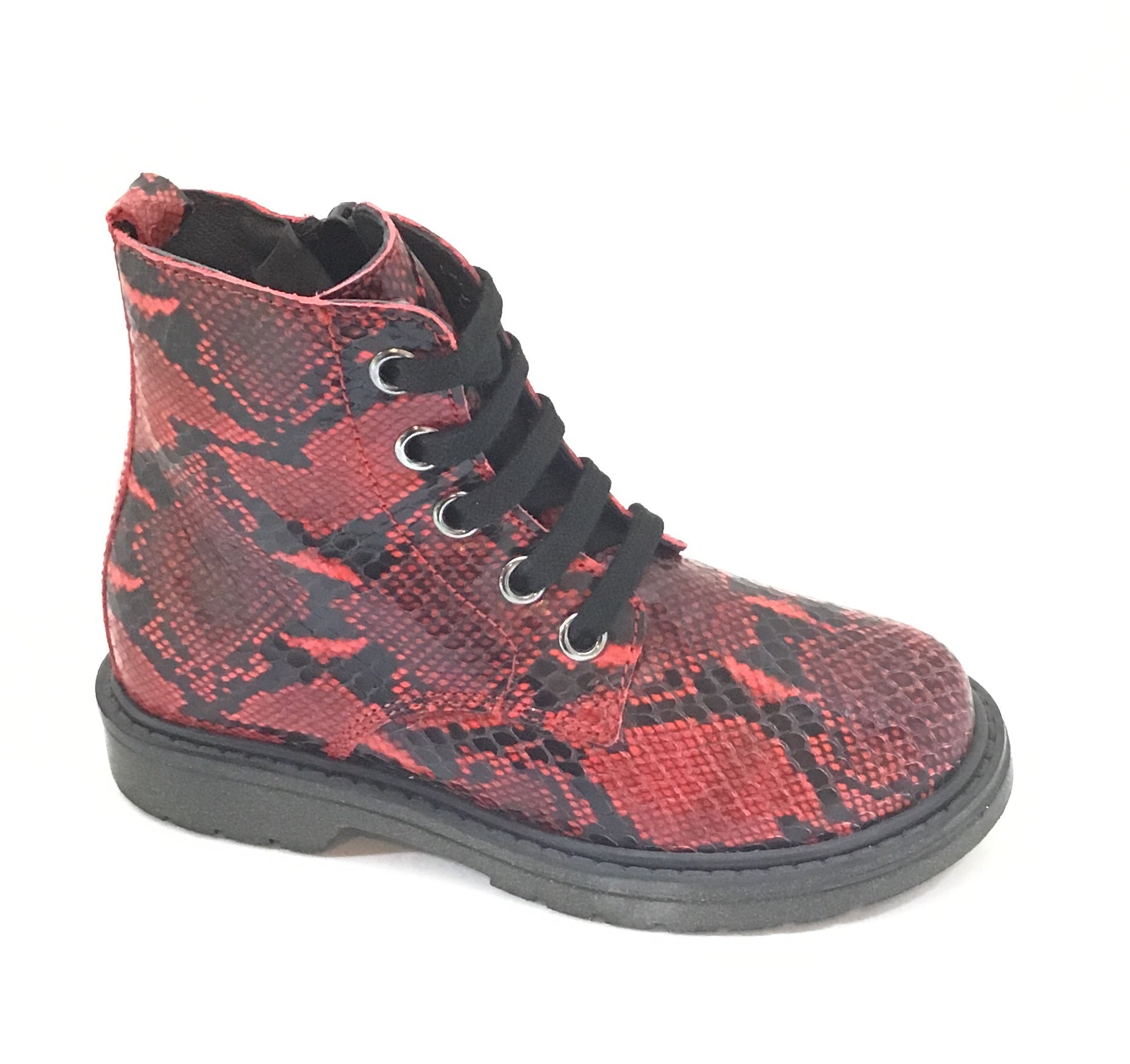 Naturino Red Snake Skin Laced Bootie