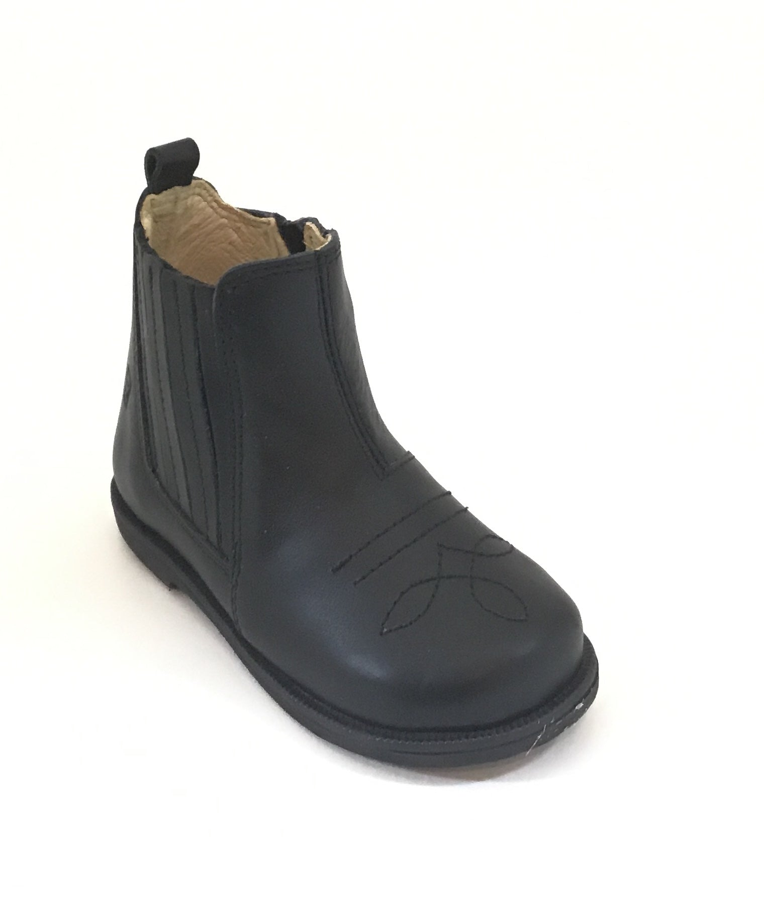 Falcotto Black Bootie with Pleated Side Panel