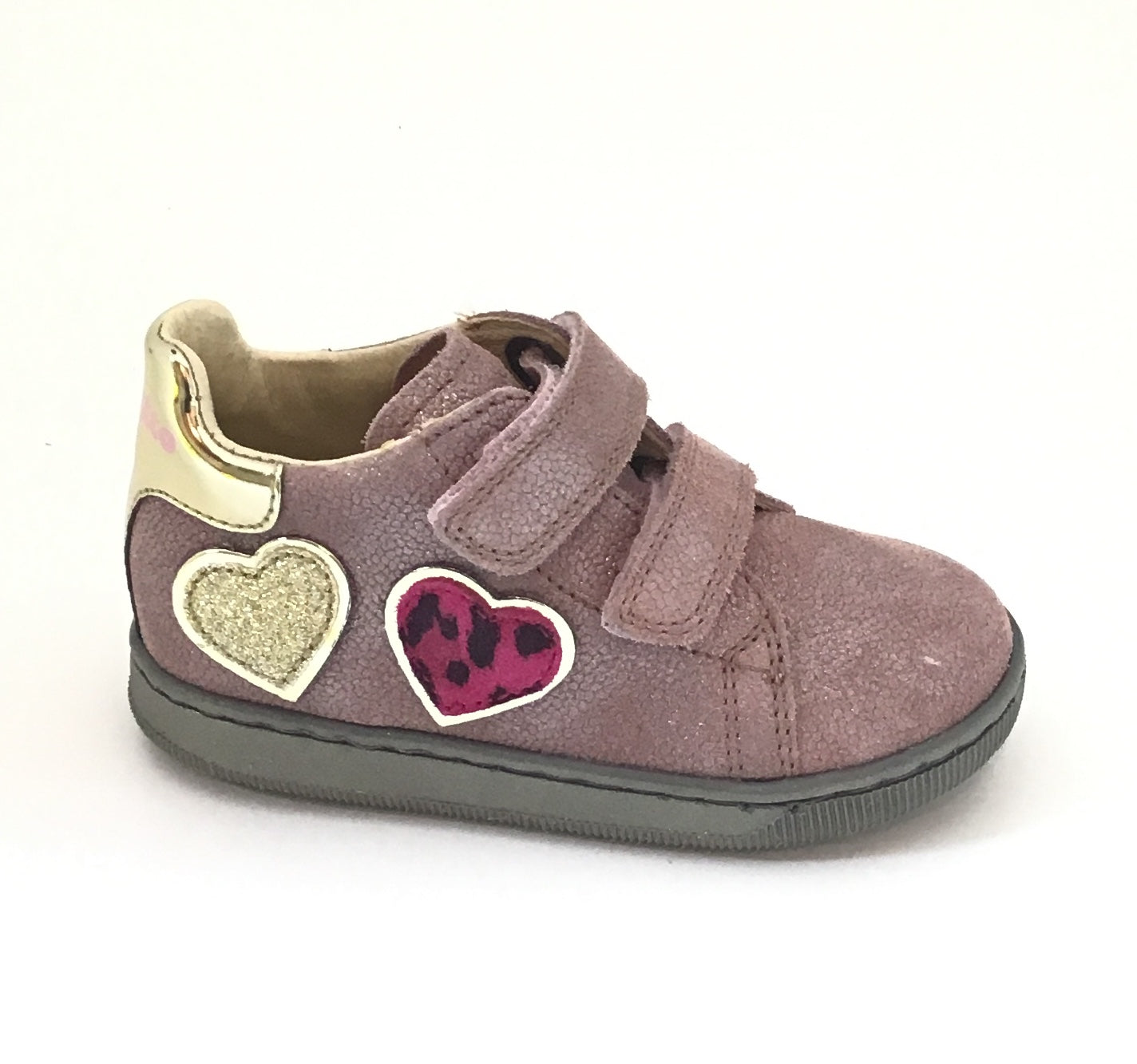 Falcotto Pink Shoe with Hearts on Side and Double Velcro