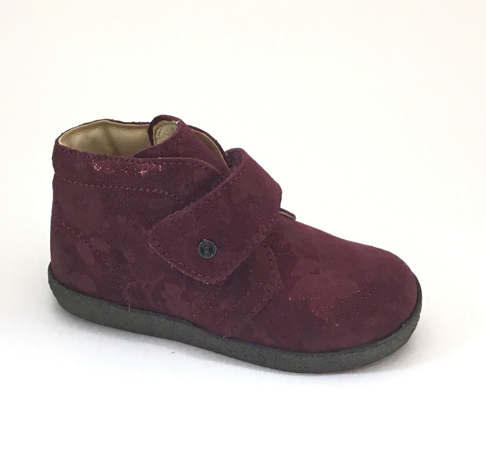 Falcotto Burgundy Flower Print Shoe with Velcro