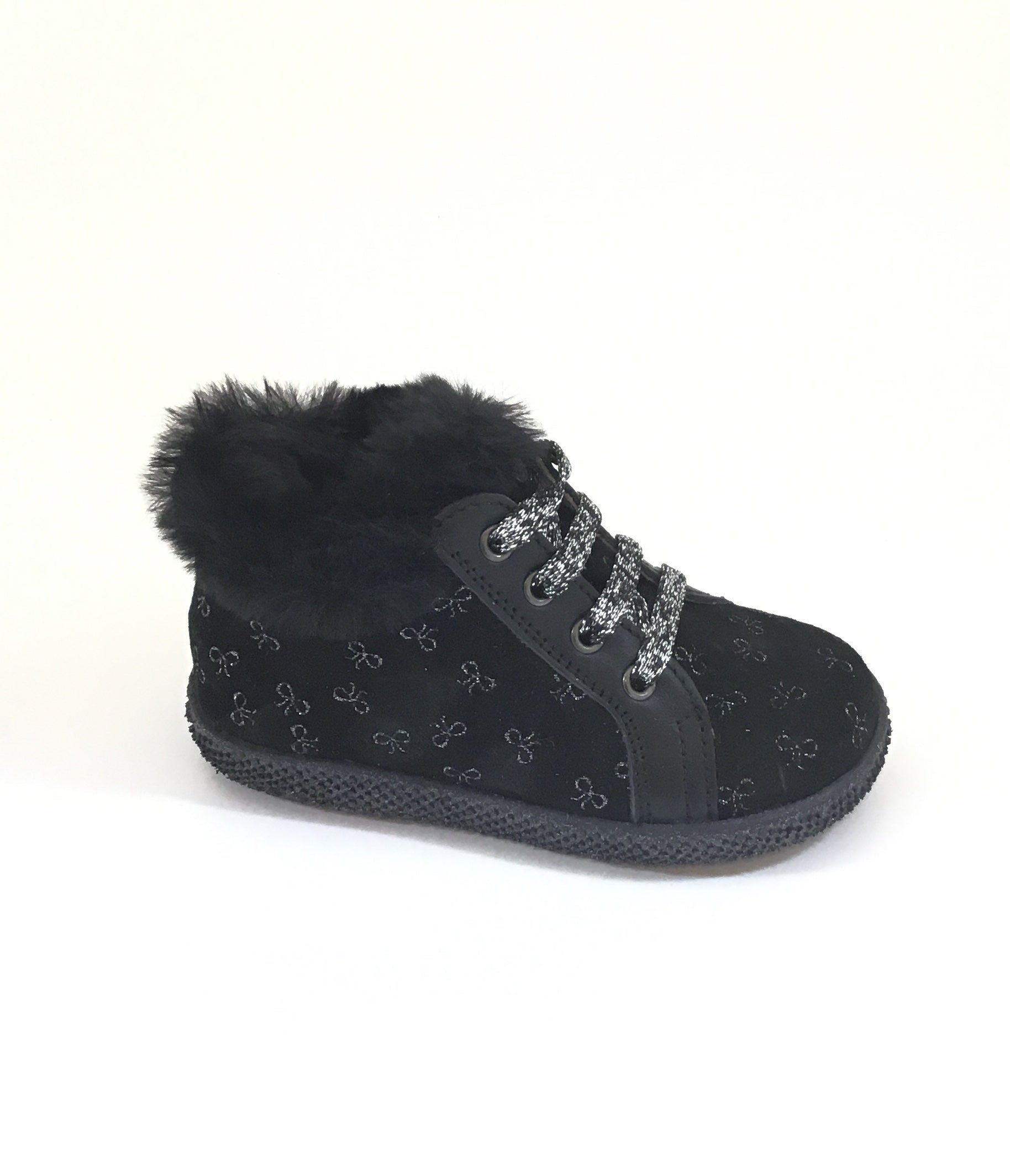 Falcotto Black Laced Shoe with Bow Print