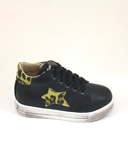 Falcotto Black Laced Shoe with Star on Side