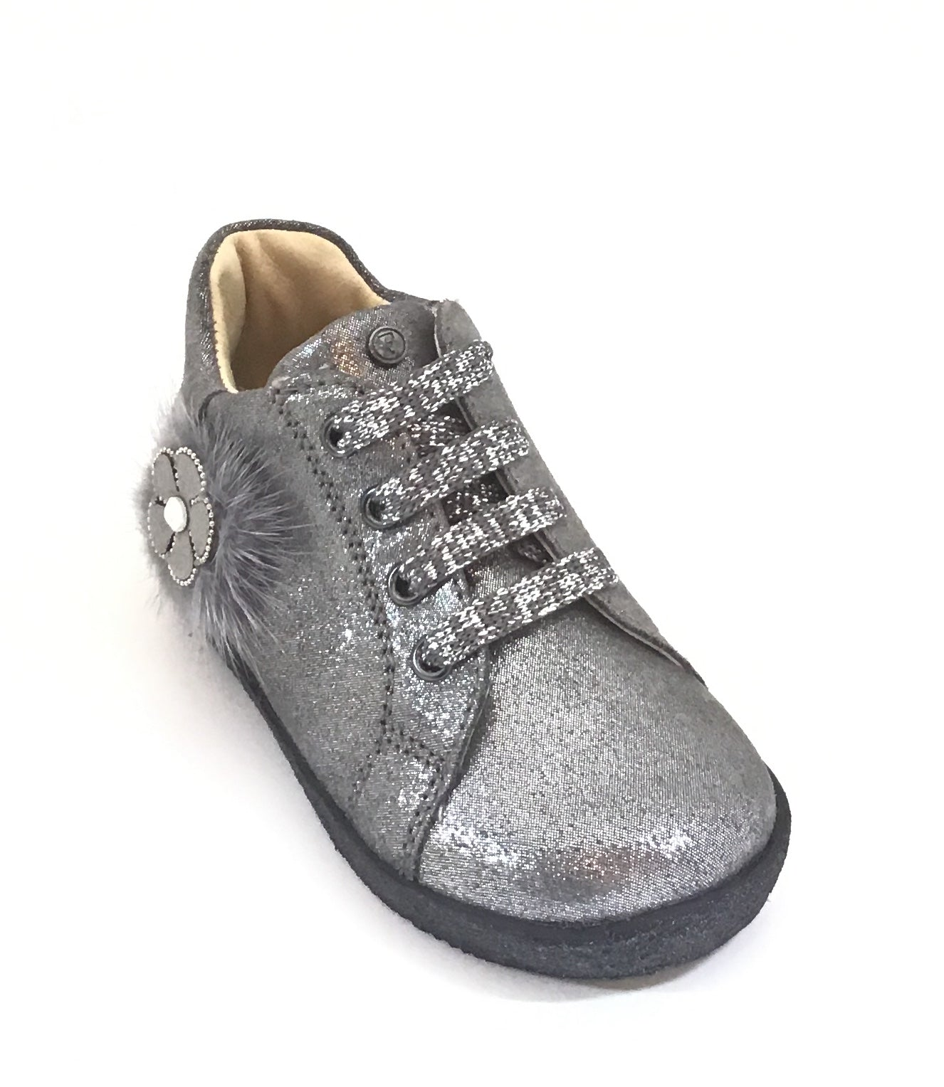 Falcotto Silver Glitter Laced Shoe with Flower on Side