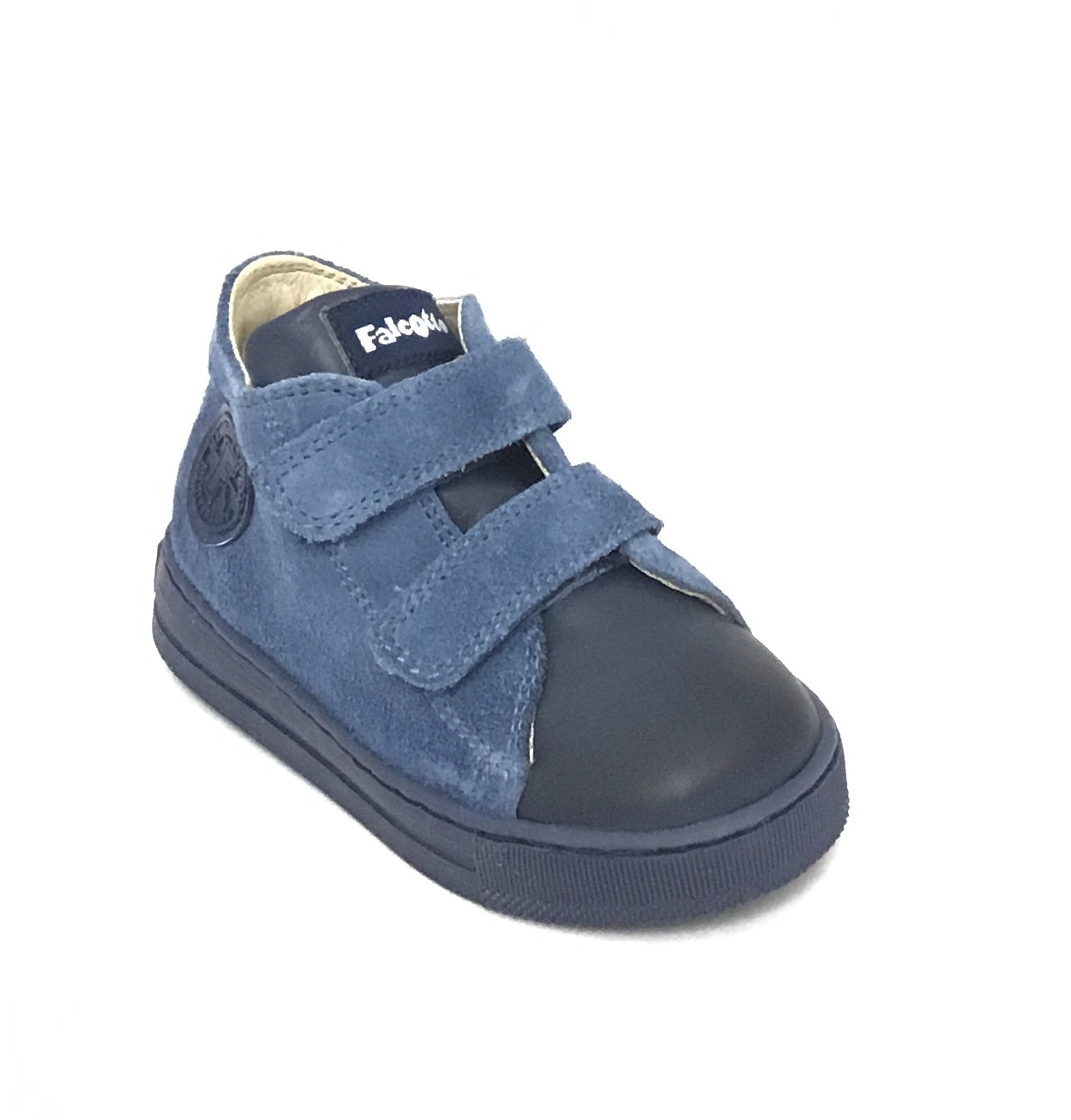 Falcotto Navy Velour Shoe with Double Velcro