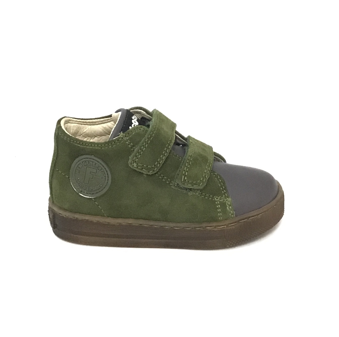 Falcotto Military Green Velour Shoe with Double Velcro