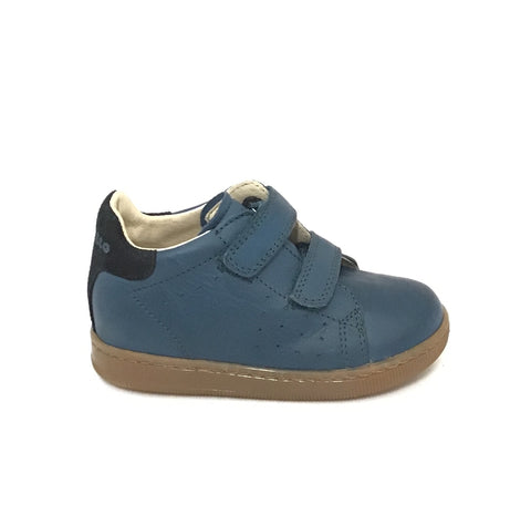Falcotto Denim and Black Shoe with Double Velcro