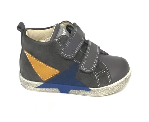 Falcotto Grey Shoe with Star Print and Double Velcro