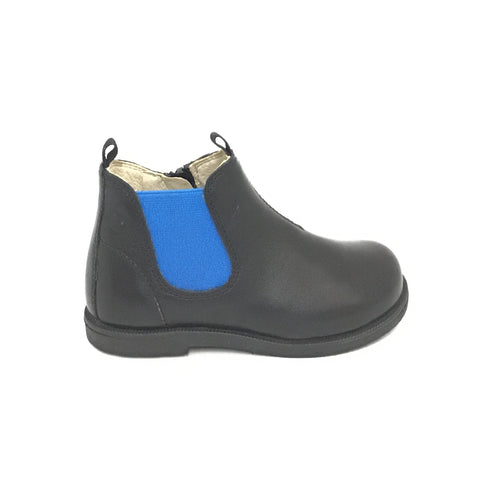 Falcotto Black Boot with Blue Elastic Side Panel