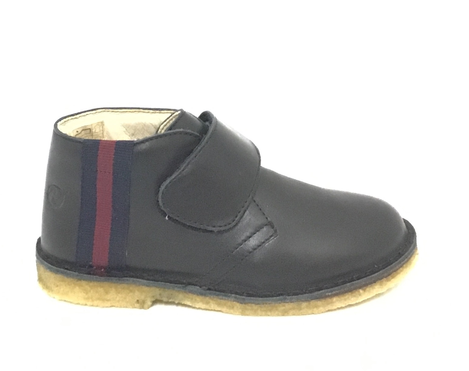 Naturino Black Shoe with Red and Black Stripe and Velcro