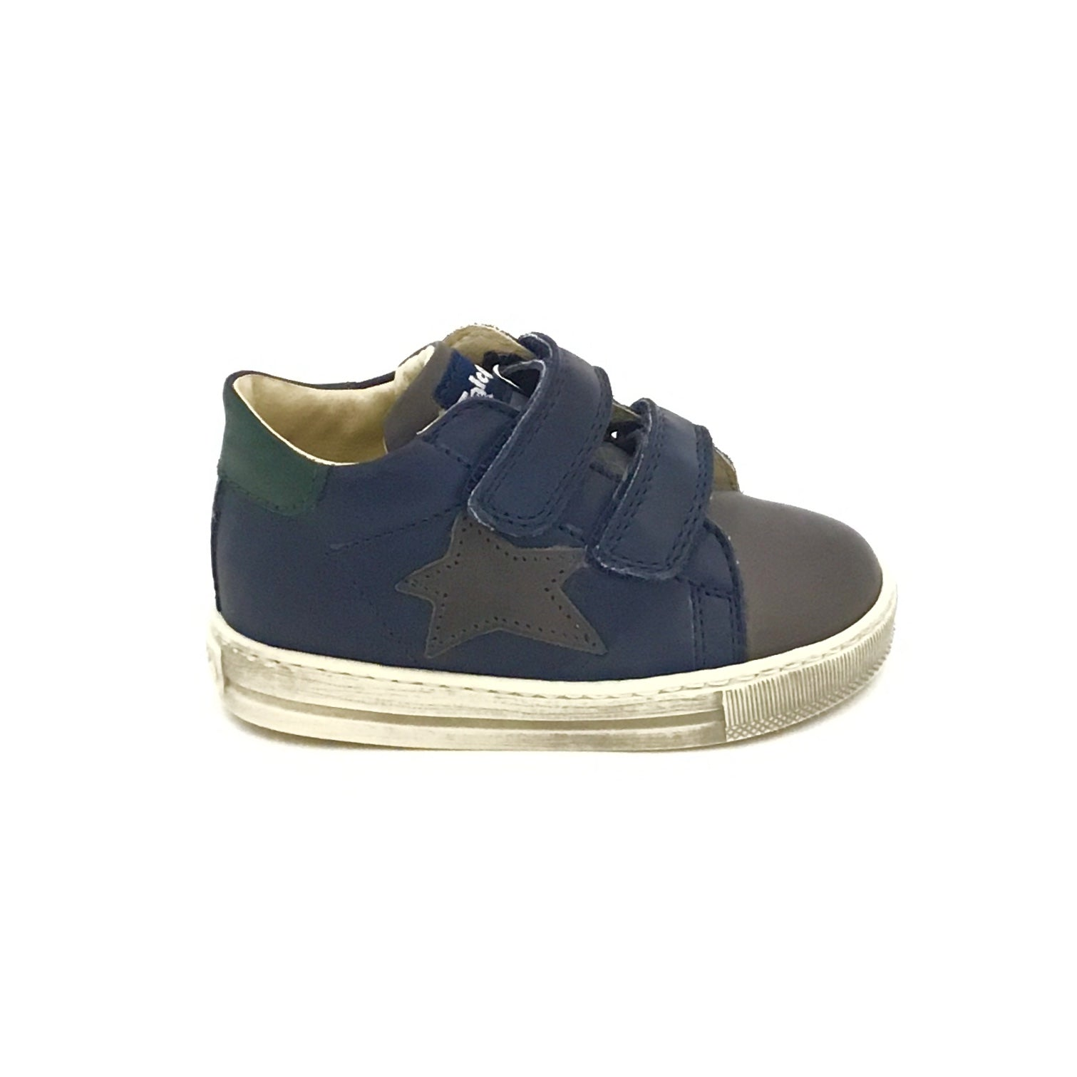 Falcotto Navy and Charcoal Sneaker with Star and Double Velcro