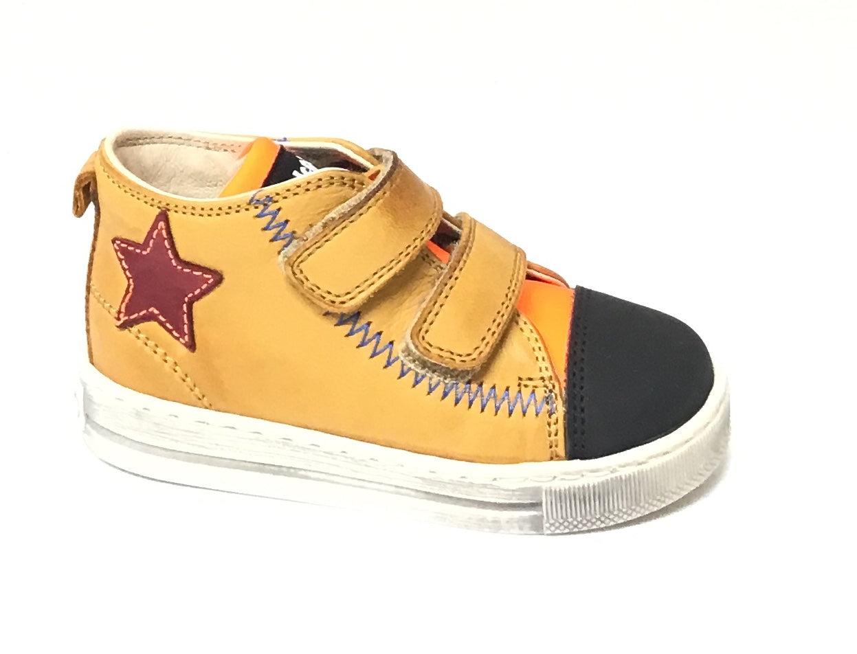 Falcotto Beige Sneaker with Red Star and Double Velcro