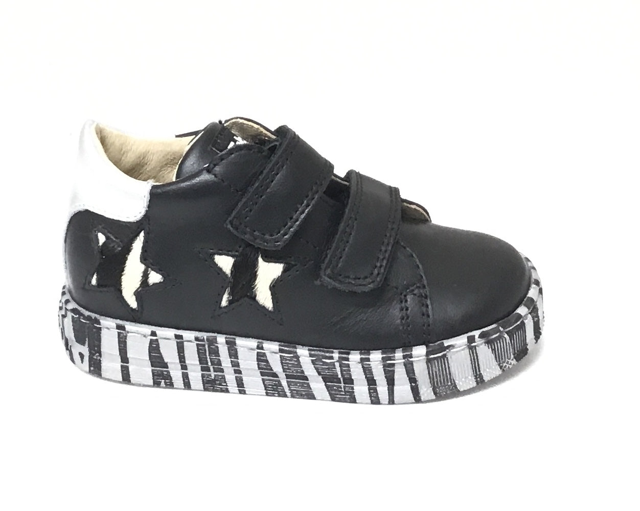 Falcotto Black Sneaker with Stars and Double Velcro