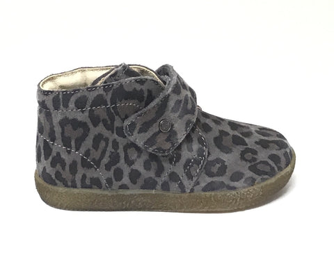 Falcotto Grey Leopard Print Shoe with Velcro