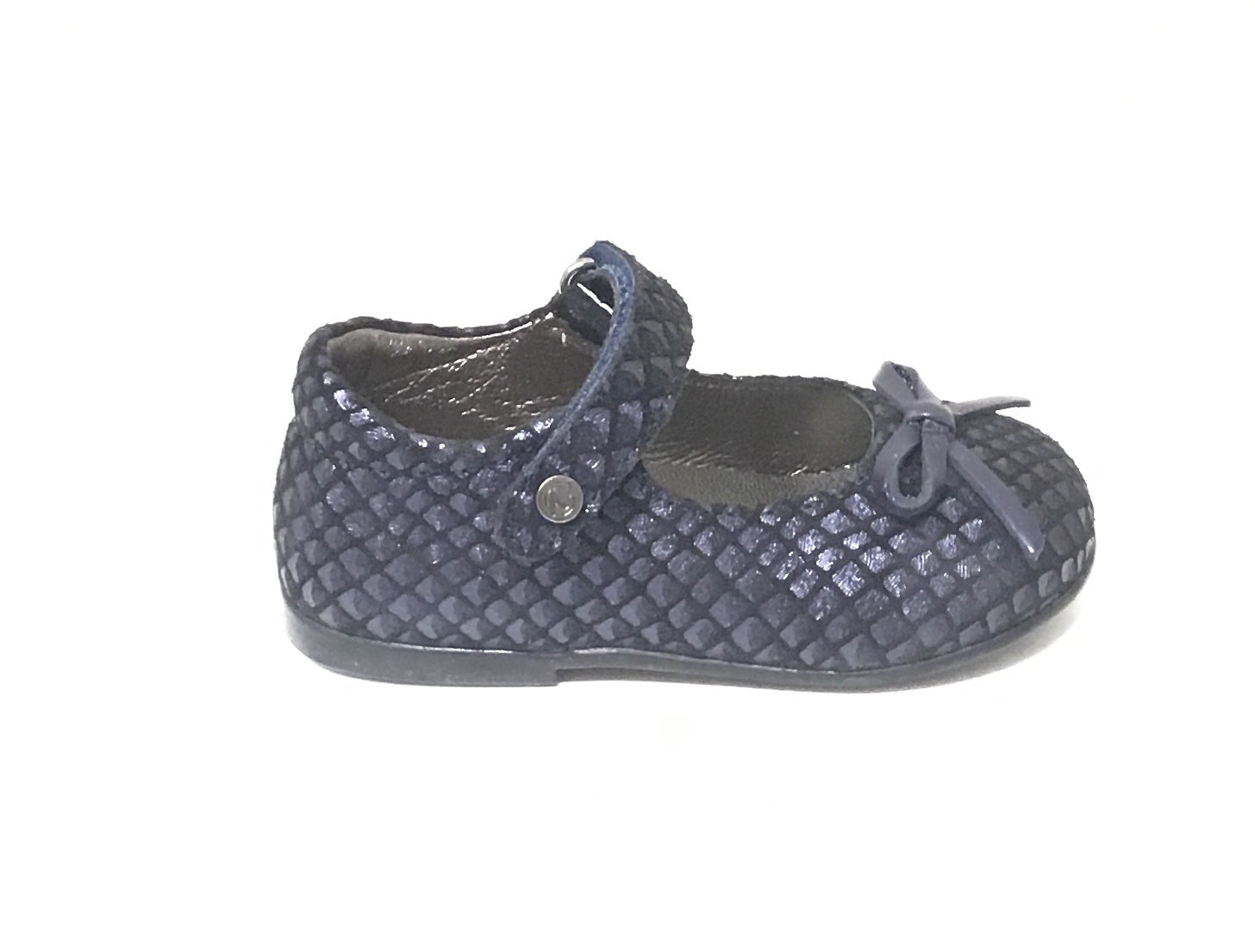 Naturino Blue Weave Texture Maryjane with Bow