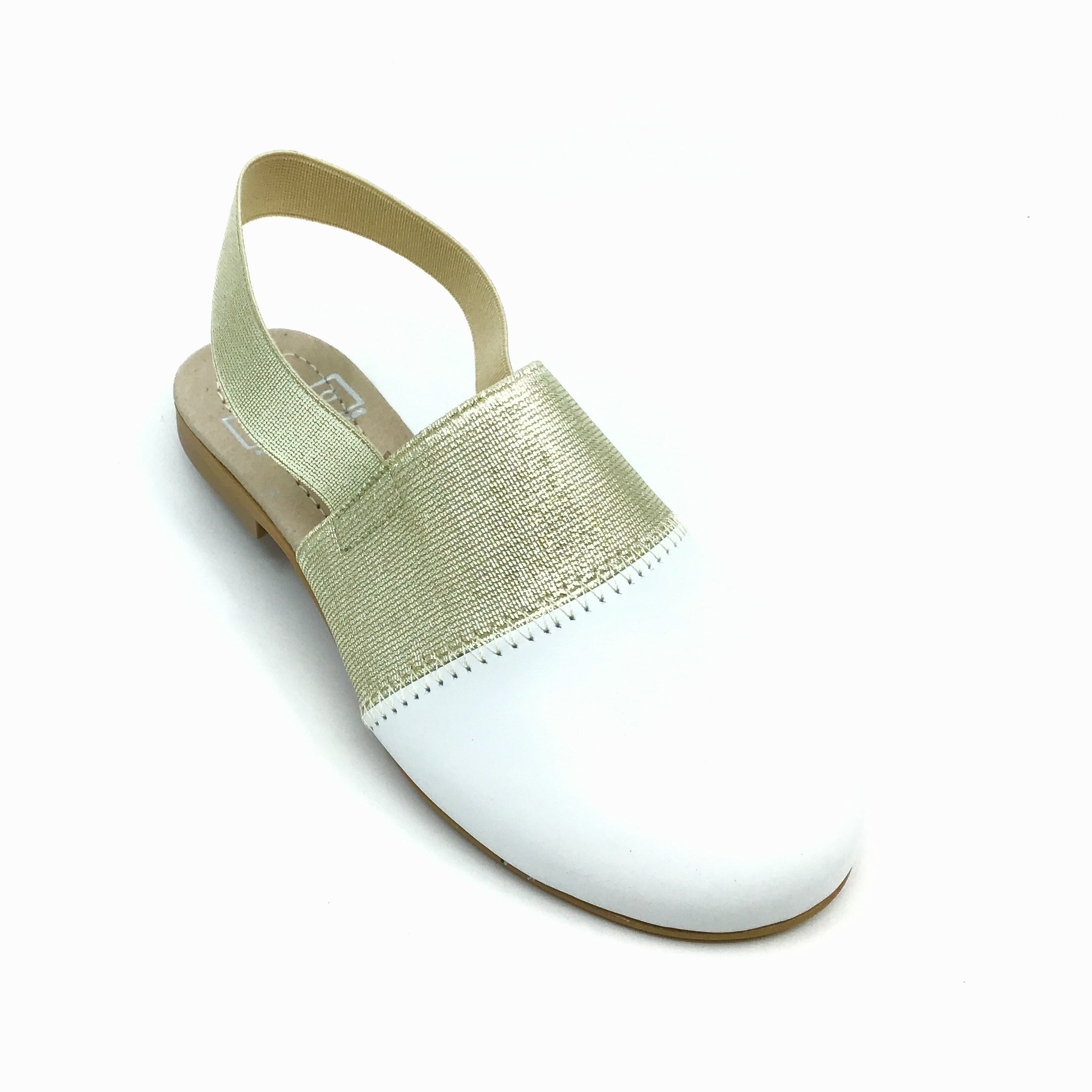 Hoo White Slip On with Gold Elastic Sling Back