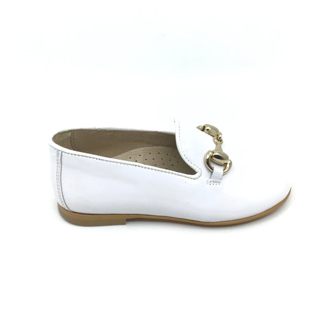 Hoo White Patent Loafer with Gold Chain