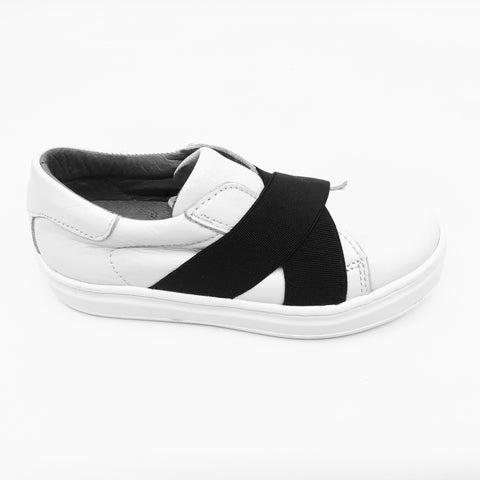 Blublonc White Sneaker with Black Elastic Straps