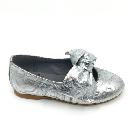 Blublonc Silver Slip on With a Big Bow
