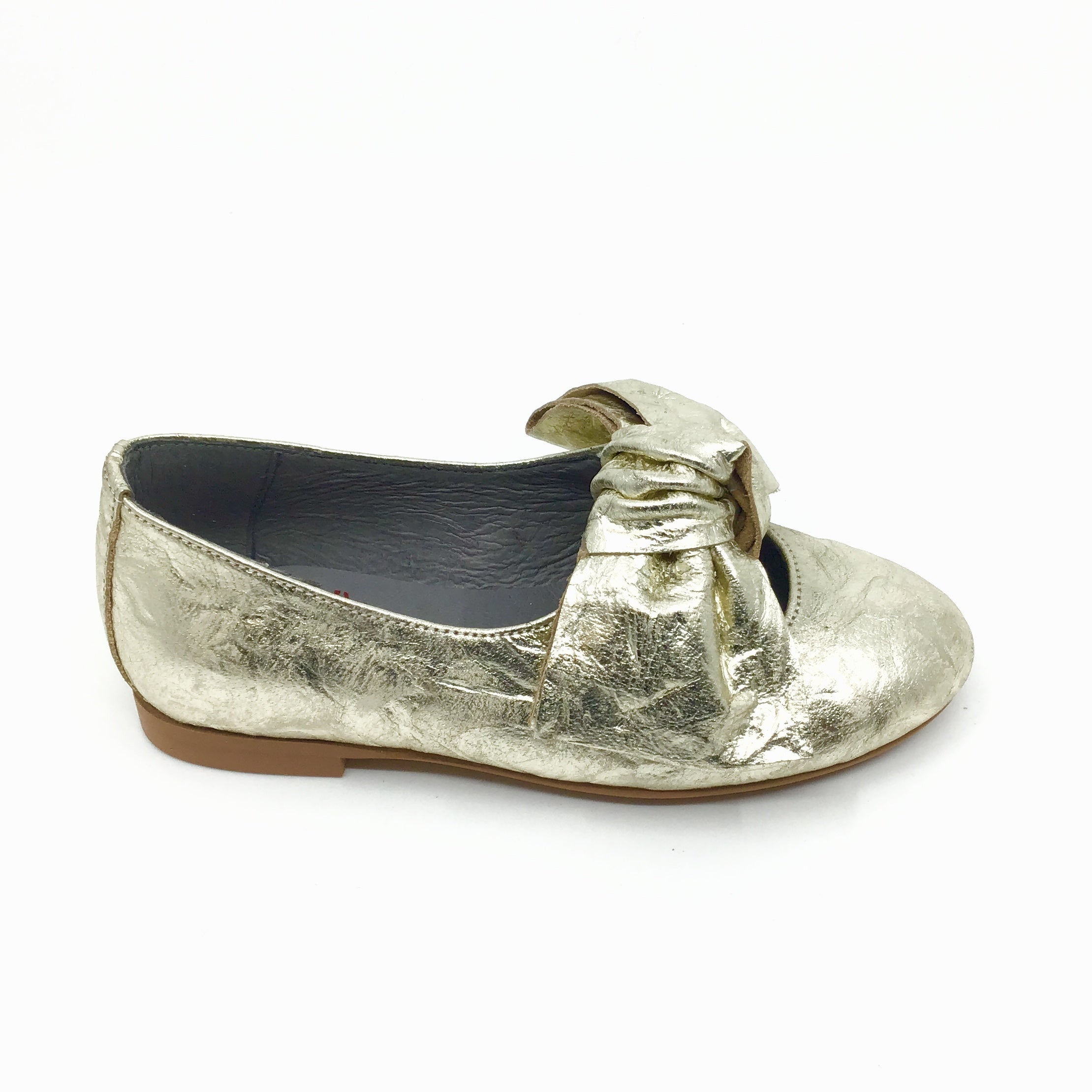 Blublonc Gold Slip on With a Big Bow