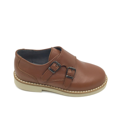 Blublonc Tan Double Velcro Dress Shoe