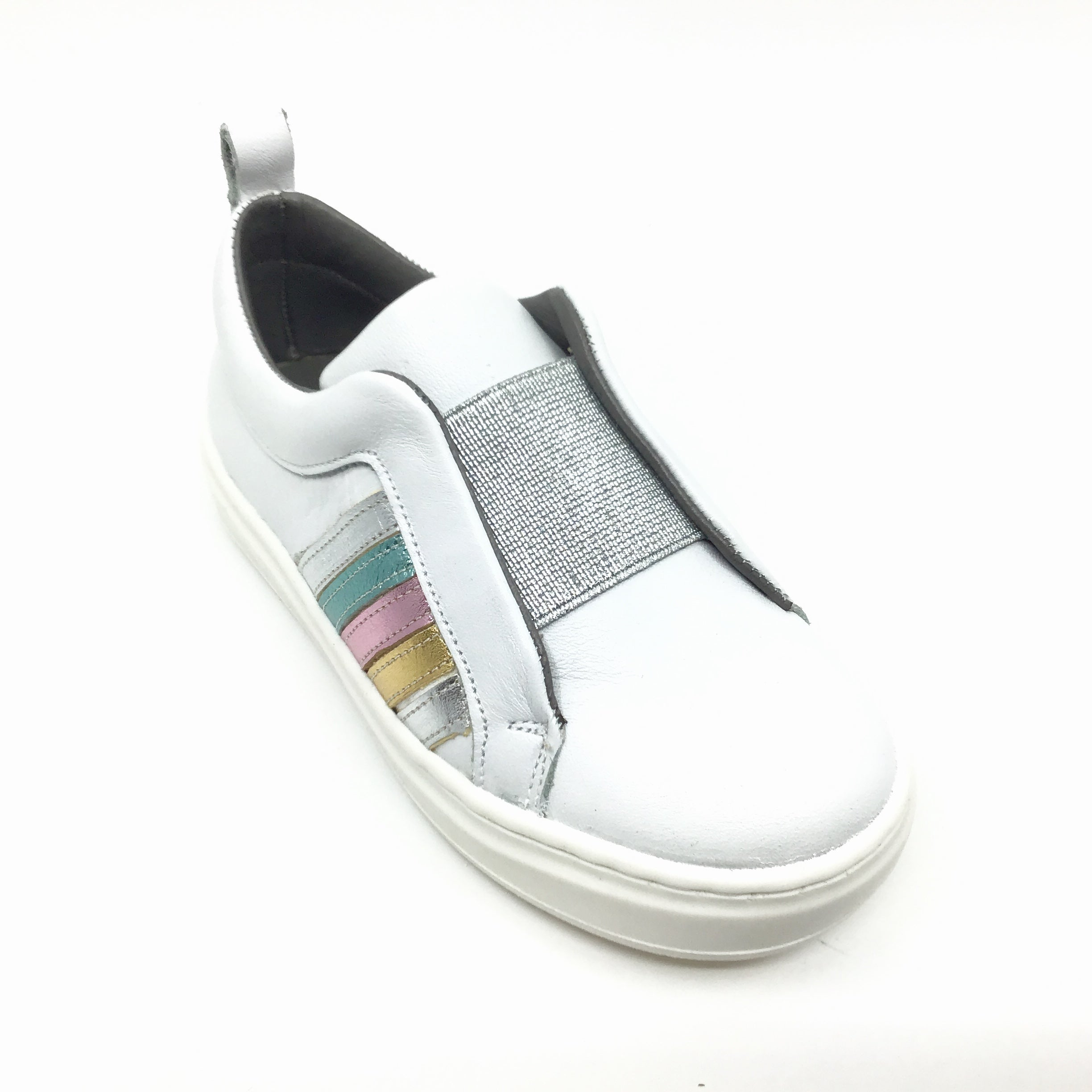 Blublonc White Sneaker with Rainbow Trim