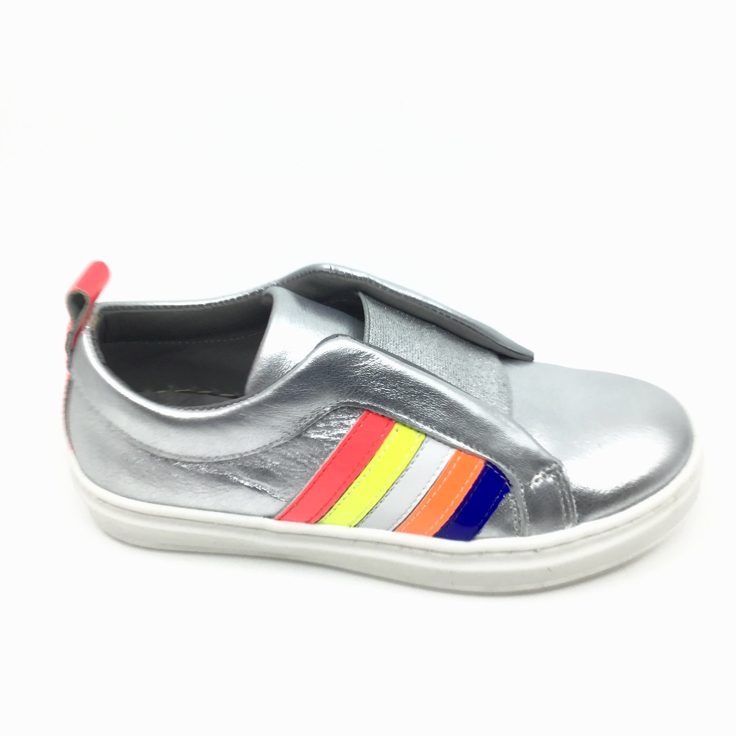 Blublonc Silver Sneaker with Rainbow Trim