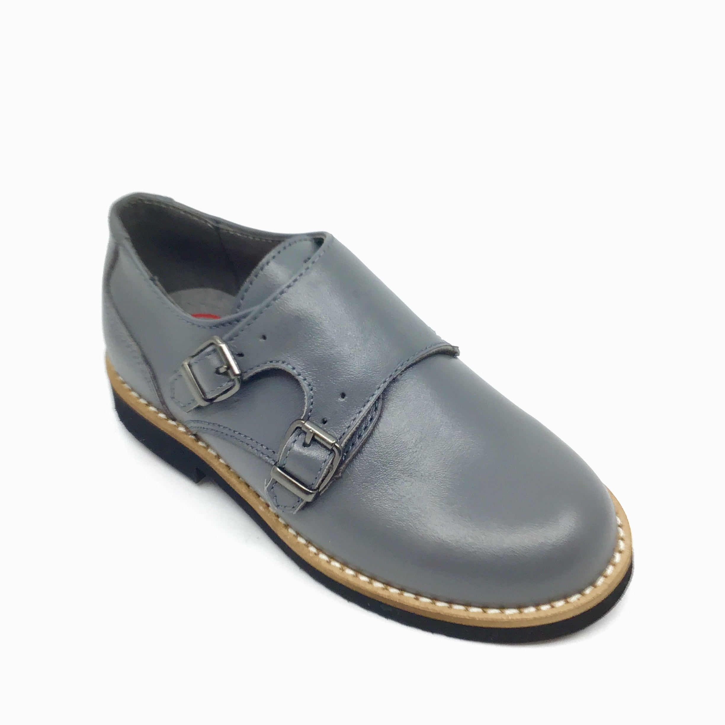Blublonc Gray Double Velcro Dress Shoe
