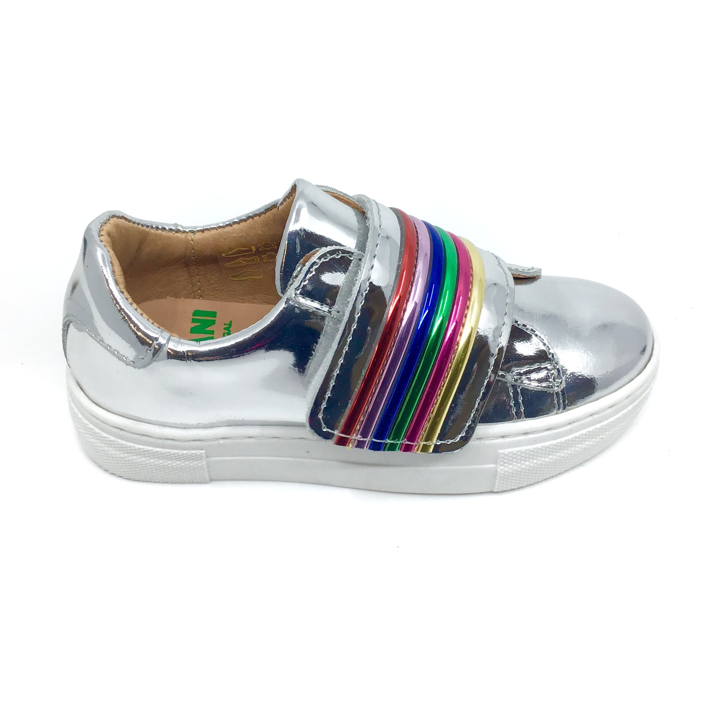 Fascani Silver Sneaker with Rainbow Velcro