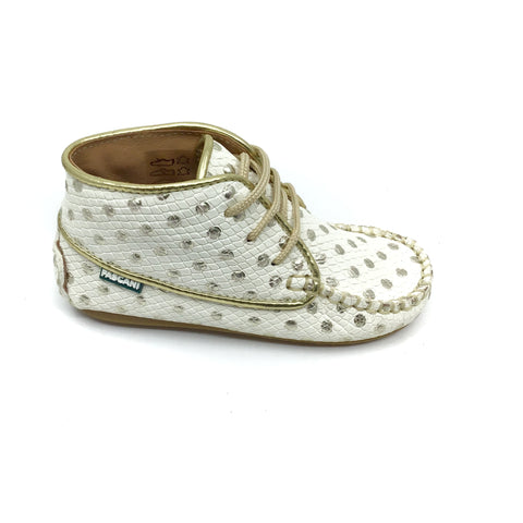 Fascani White and Gold Baby Shoe