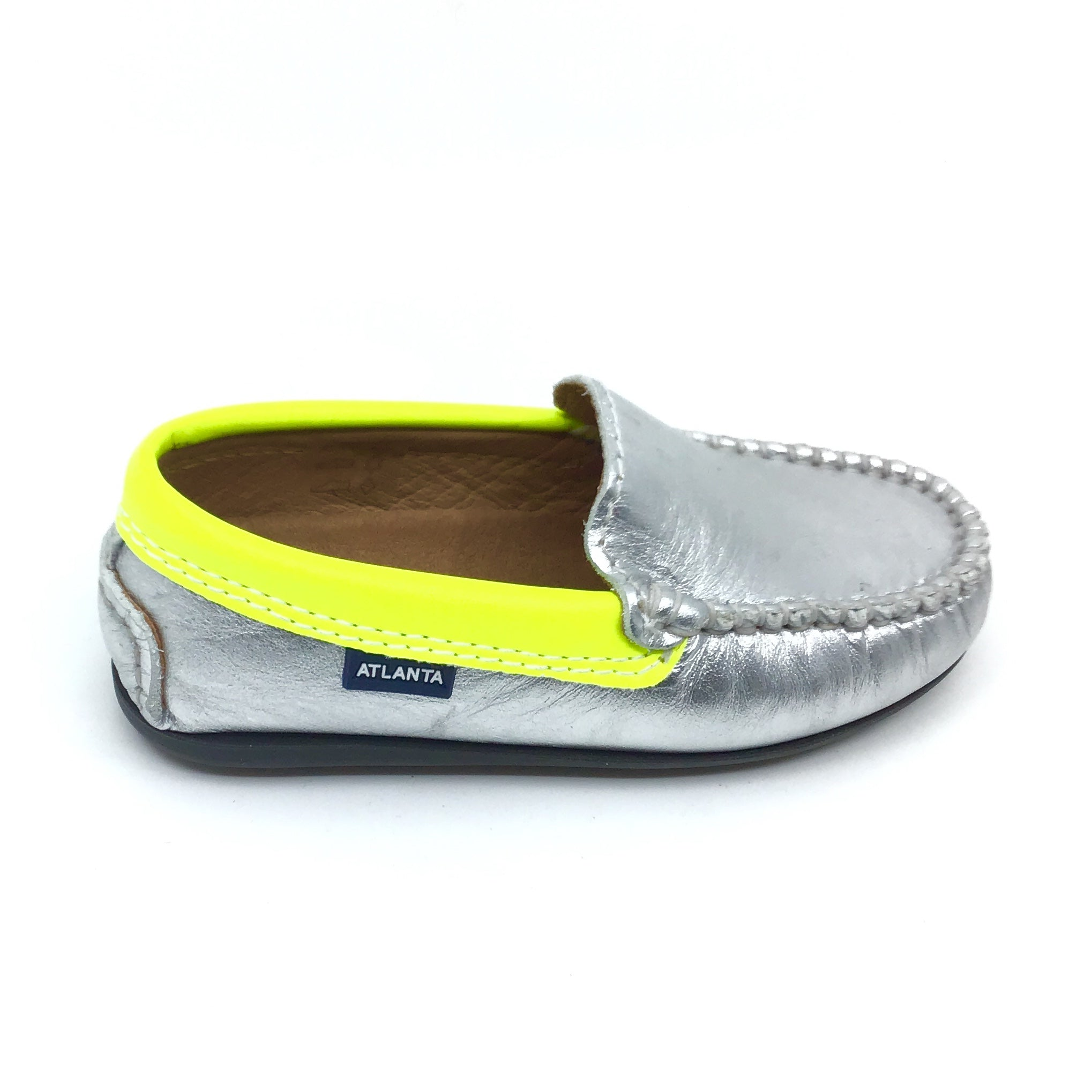 Atlanta Silver Loafer with Yellow Trim