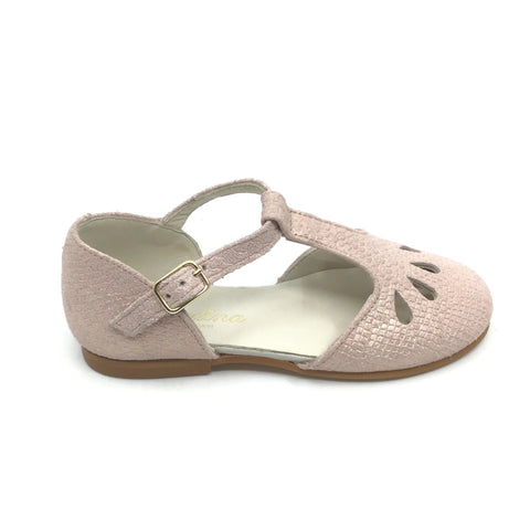 Sonatina Pink Textured T-Strap Shoe