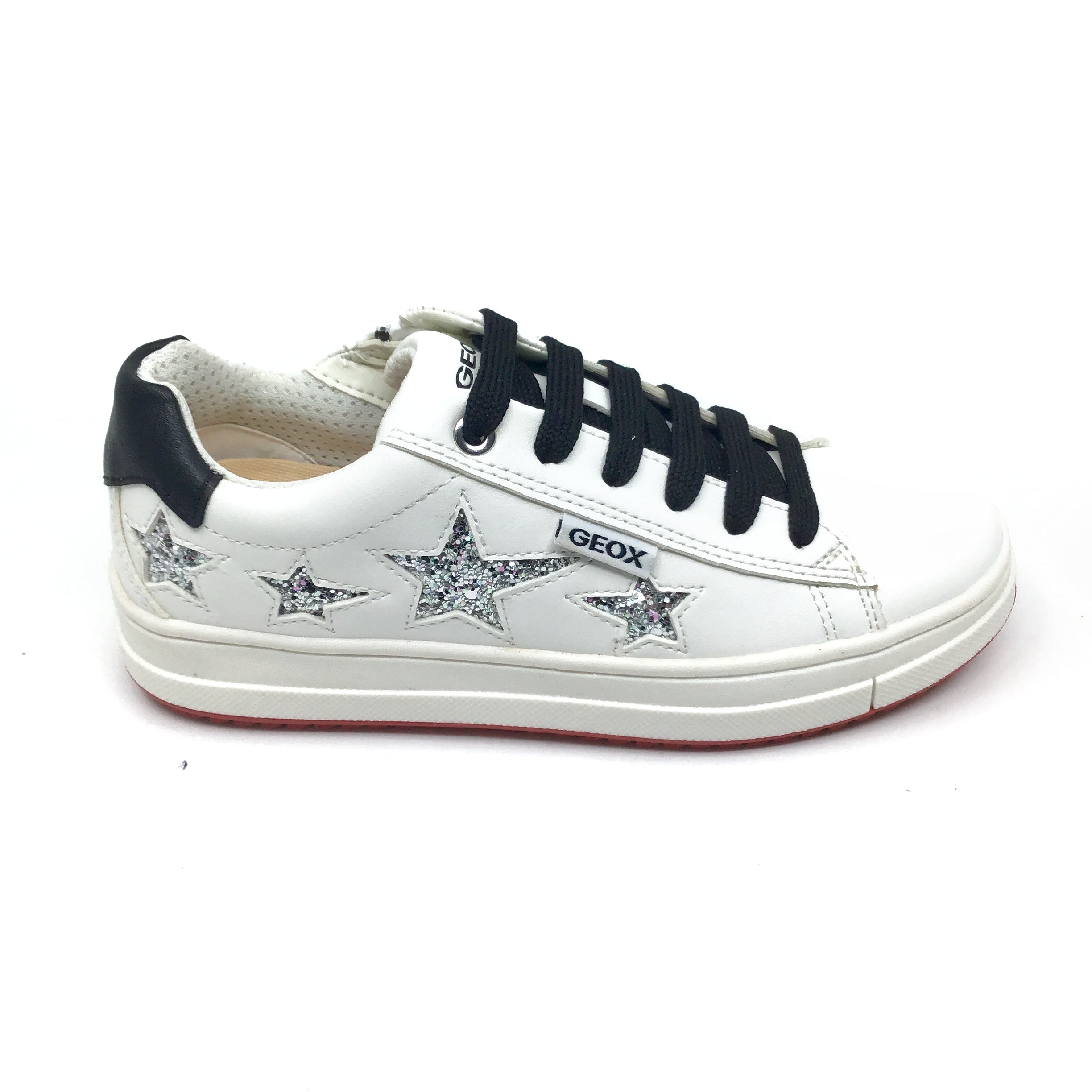 Geox White Lace Up Sneaker with Silver Stars