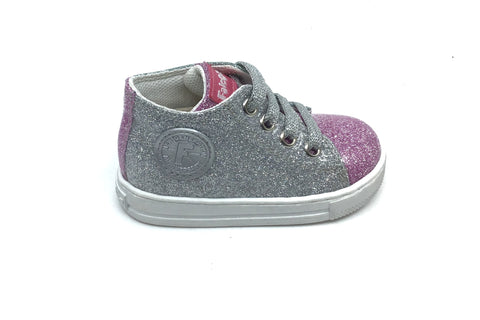 Falcotto Glossy Glitter Sneaker with Pink Toe