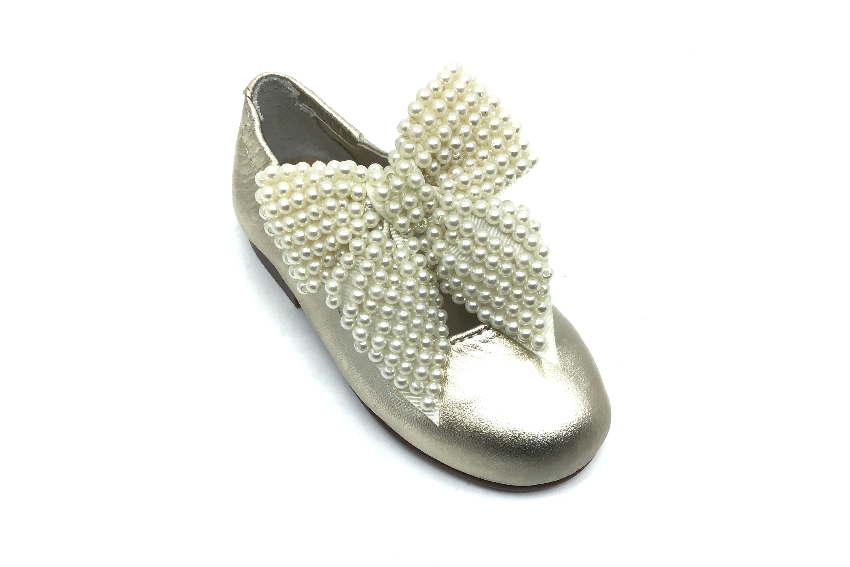 Papanatas Gold Mary Jane with Pearl Bow