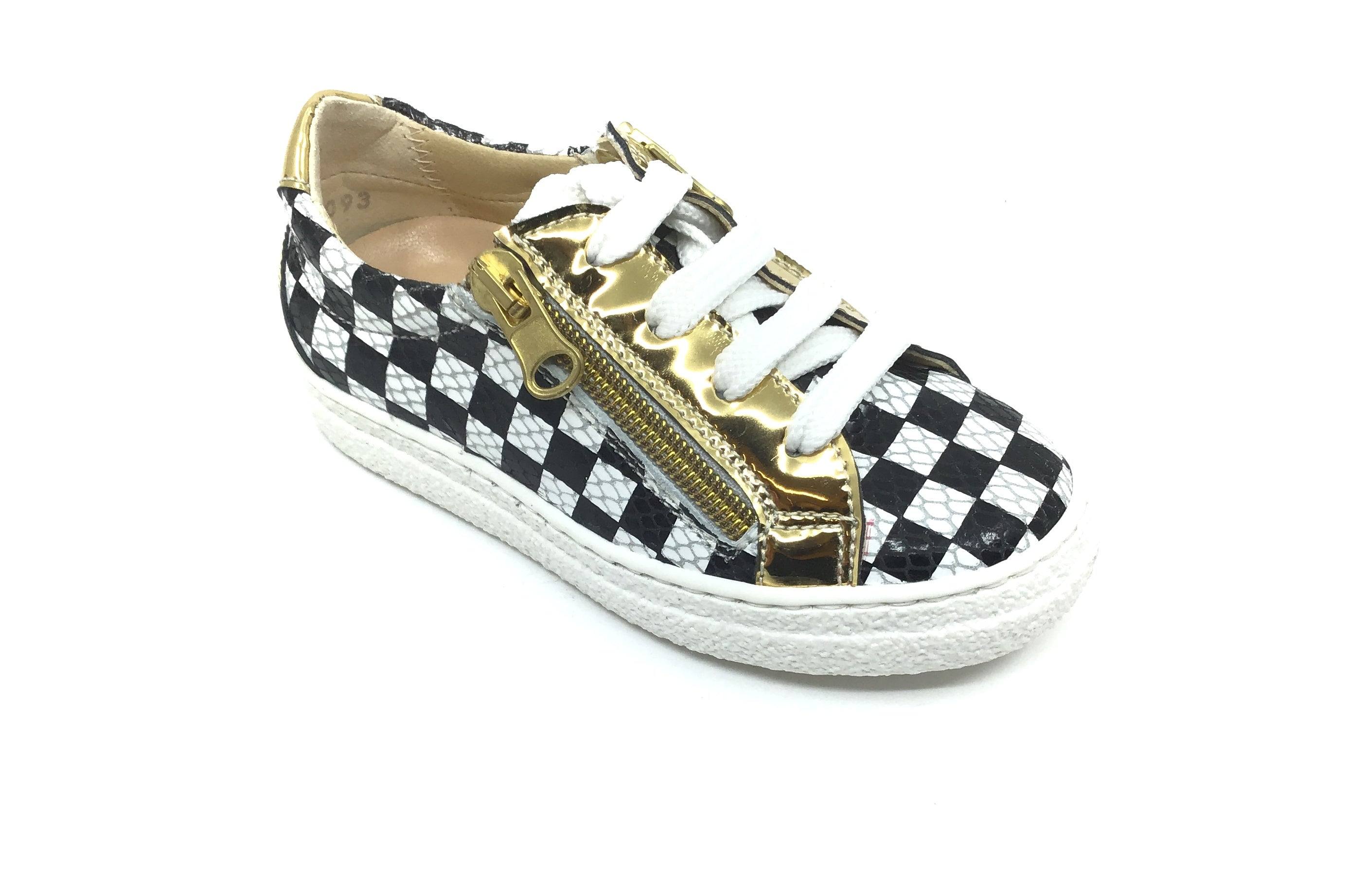 Papanatas Checkered Sneaker with Gold Zip Trim