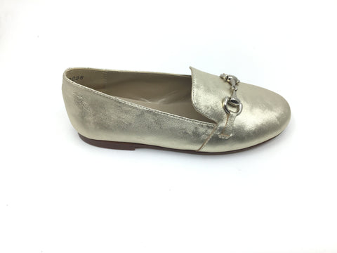 Papanatas Gold Shimmer Loafer with Chain