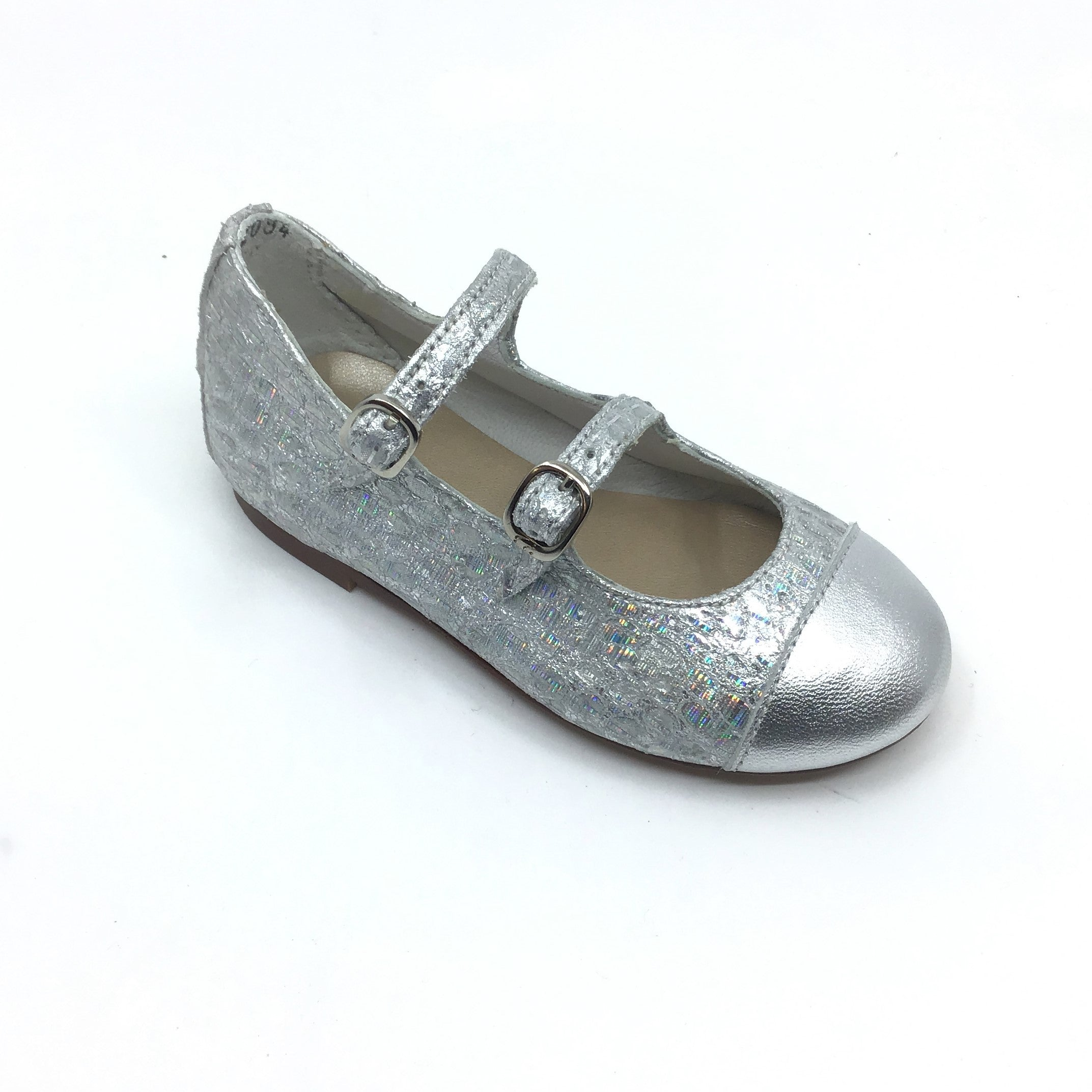 Papanatas Silver Print Double Strap Mary Jane