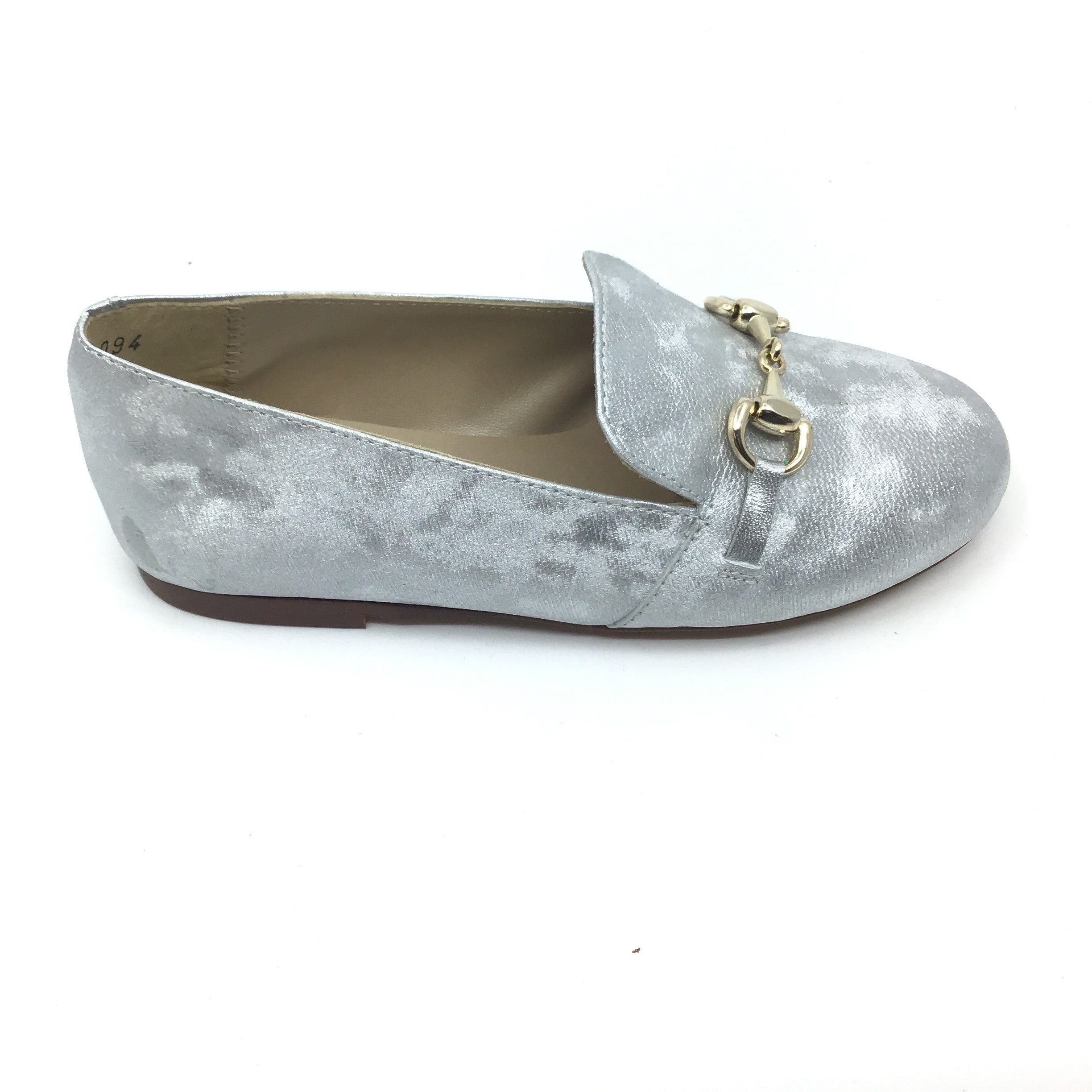 Papanatas Silver Shimmer Loafer with Chain