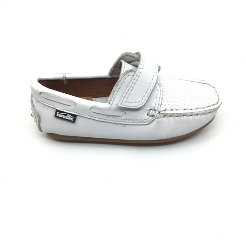 Venettini White Velcro Loafer with Front Texture