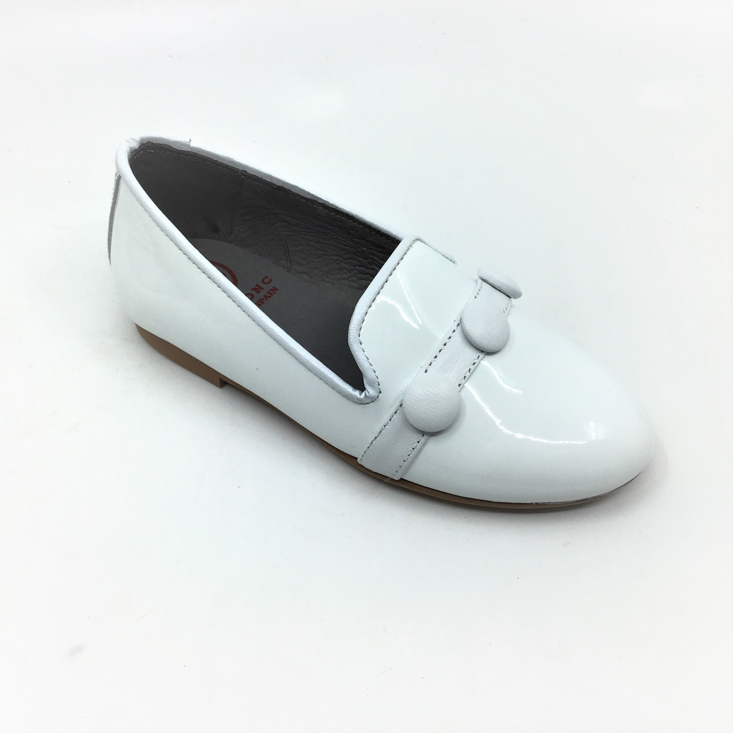 Blublonc White Patent Slip on with Buttons